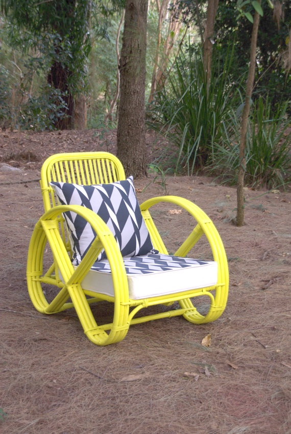 Made to Order - Upcycled Vintage Cane Pretzel Chair Neon Yellow. $350.00, via Etsy.