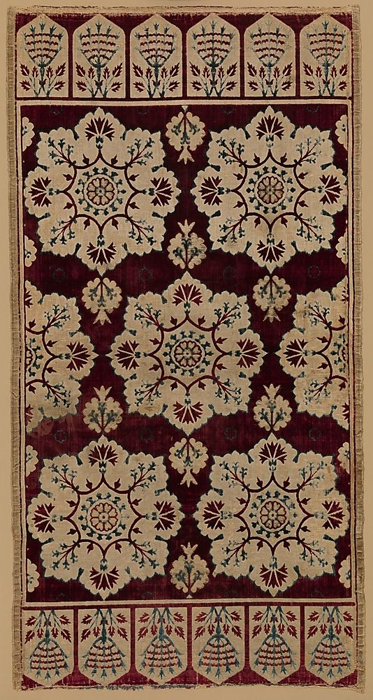 Cushion Cover ('Yastık')  Ottoman, Turkey, 17th century.   Medium: Silk, linen (?); cut and voided velvet, brocaded.