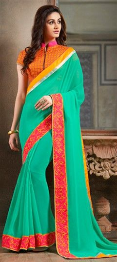 173766 Green  color family Embroidered Sarees,Party Wear Sarees in Faux Georgette fabric with Lace,Machine Embroidery work   with matching unstitched blouse.