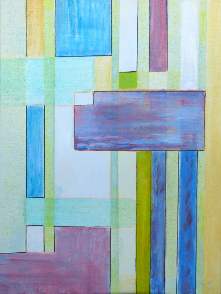 """""""Abstraction of Line and Colour"""", Oil glazes, 18"""" x 24"""", $300.00"""