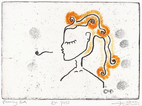 A KISS. Exclusive Etching 12 x 9 cm. Printed by WildBeautyStudio, kr400.00
