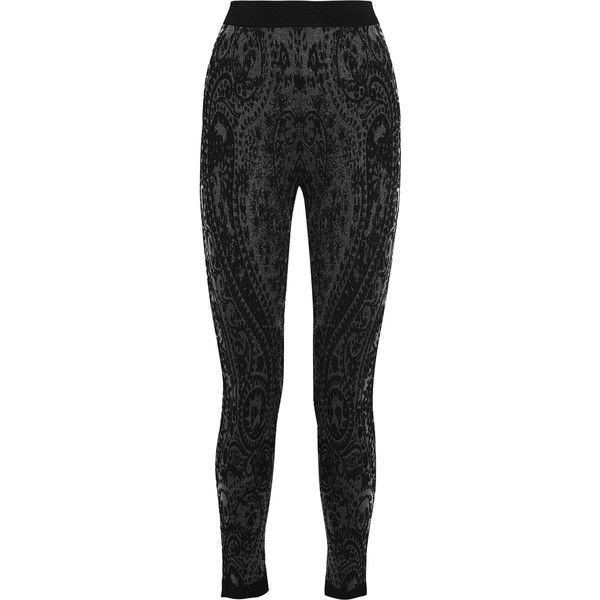 Balmain Embroidered tulle skinny pants (1.530 RON) ❤ liked on Polyvore featuring pants, black, super skinny pants, high waisted skinny pants, elastic pants, highwaist pants and balmain