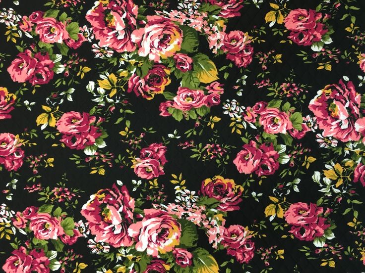 Image of Black Quilted (Jacquard Print) Floral