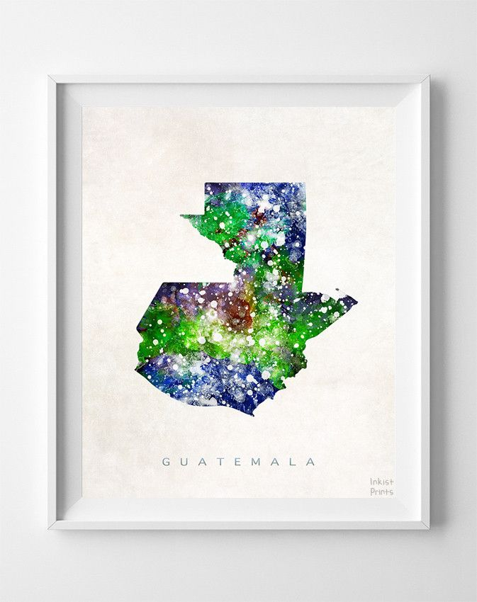 Guatemala Watercolor Map Print