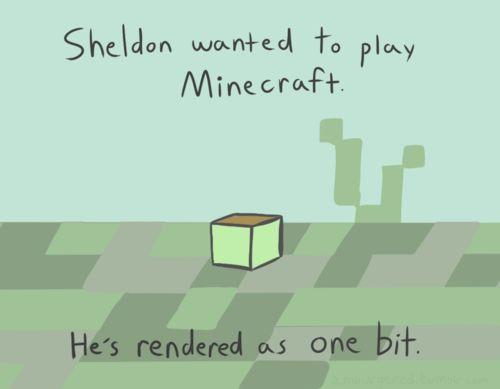 Sheldon the Tiny Dinosaur and Minecraft