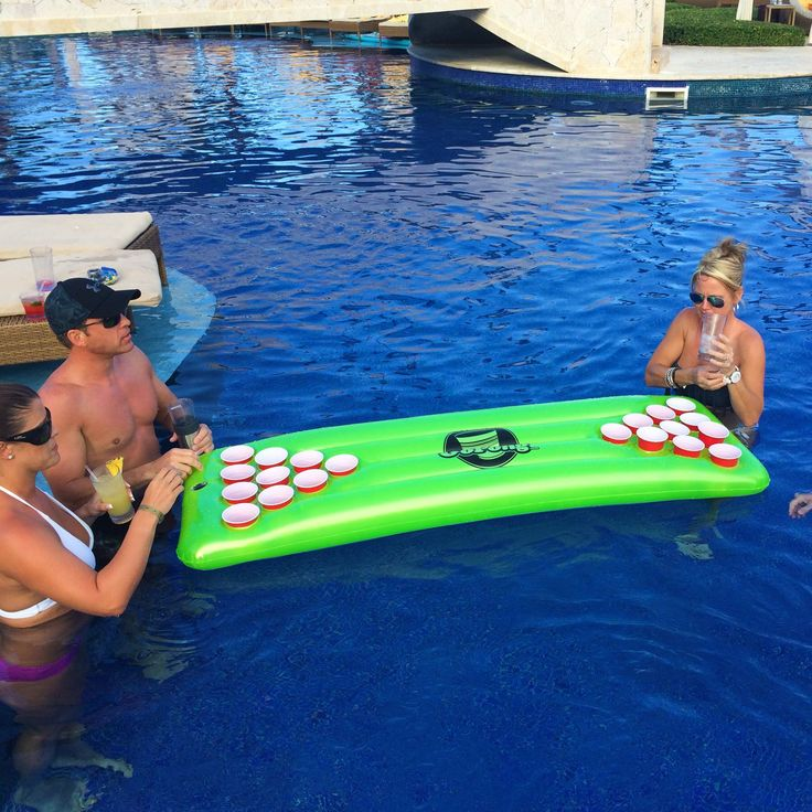 Features: -Inflates quickly by pump (not included) or mouth. -Bright neon green design. -Floating beer pong table with 3 pong balls. -Full 10 cup beer pong on each side. -Floating: 6'. Game: -Be