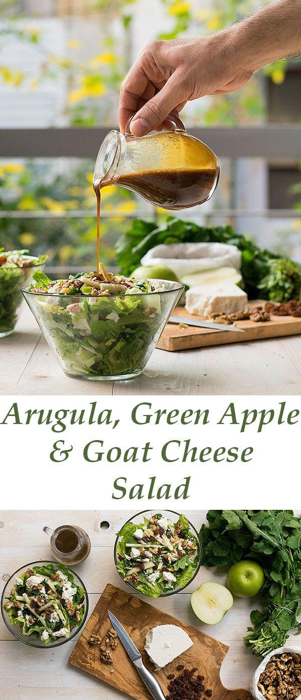 arugula goat cheese & green apple salad | thehungrybites.com