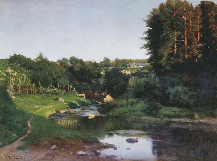 A Village near the River  Kryzhitskii, Konstantin Iakovlev  Painting Reproductions