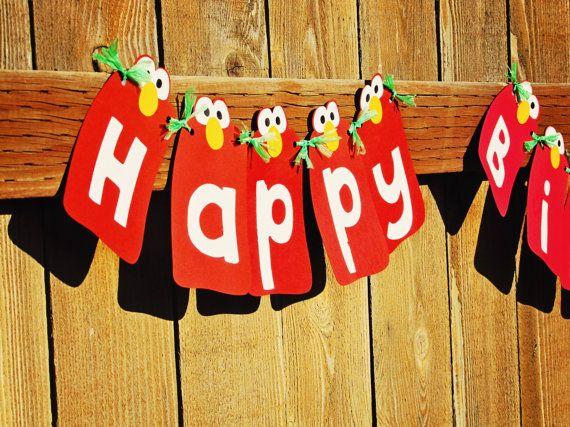 DIY Elmo Birthday Party Banner Handmade Kit, Sesame Street, Red ...