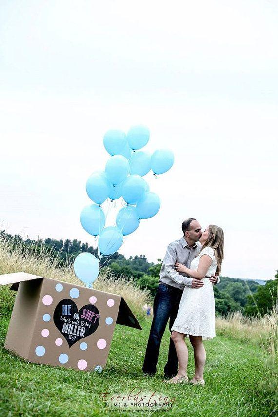 CUSTOM He or She last name gender reveal balloon box sign heart chalkboard printable file by Lindstackett
