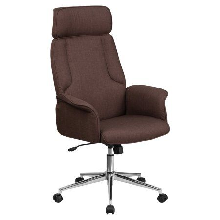 Flash Furniture High Back Brown Fabric Executive Swivel Office Chair with Chrome Base