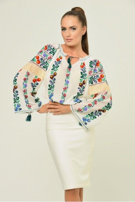 Ie: traditional Romanian blouse for women. Funky colors