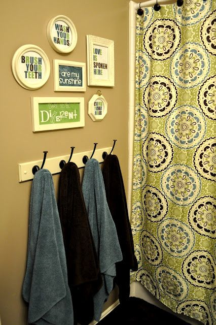 Bathroom Re-do - I really like this. I'm redoing the kids' bathroom and want something along these lines - also have been wanting to do the hooks on the wall for towels rather than rods!