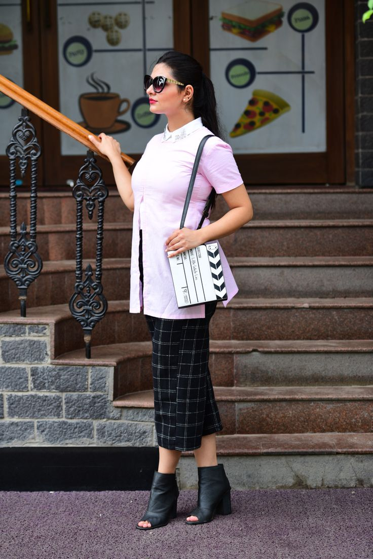 Pink slit top with plaid culottes and white shirt