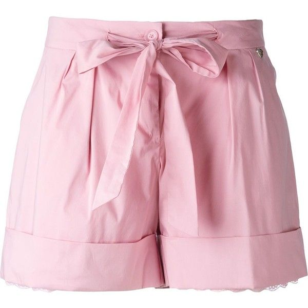 Twin-Set Scalloped Detail Layered Shorts (10.805 RUB) ❤ liked on Polyvore featuring shorts, bottoms, short, pink shorts, short shorts, scalloped edge shorts, scallop hem shorts and layered shorts