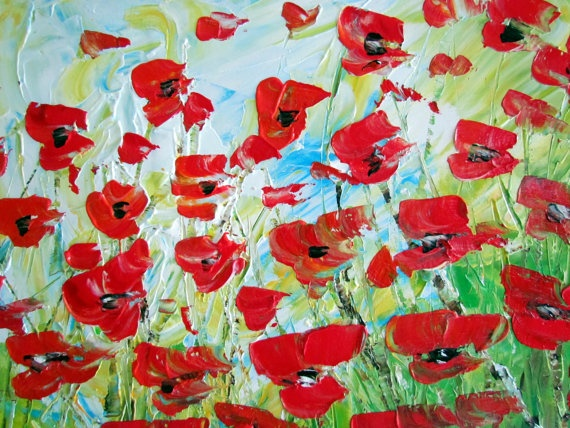 RED POPPIES FIELD Original Oil Painting Flowers by LUIZAVIZOLI, $275.00