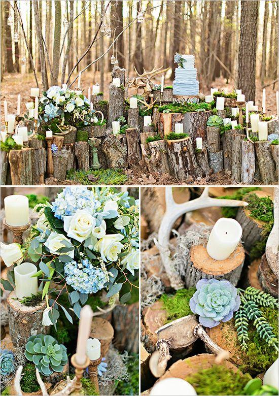 woodsy log table decor @weddingchicks
