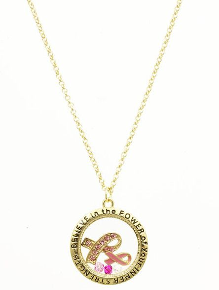 Arabella Ave by Tina  http://www.arabellaave.com/#a_aid=TinaGowans  BREAST CANCER AWARENESS FLOATING CHARM NECKLACE $10.00 16 INCH LONG PINK RIBBON PAVE CRYSTAL STONE MESSAGE LINK ROLO CHAIN 16 INCH LONG 1 INCH DROP NICKEL AND LEAD COMPLIANT