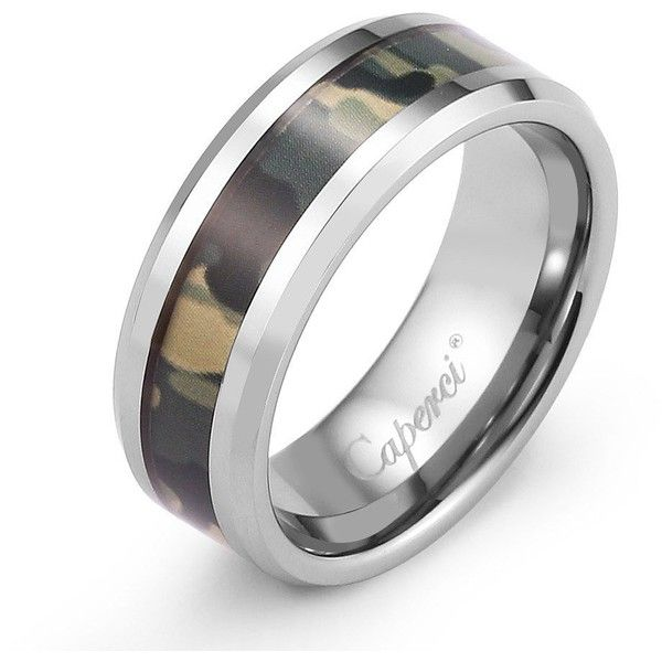 Caperci 8mm Hunting Green Camouflage Camo Ring Tungsten Carbide... ($45) ❤ liked on Polyvore featuring jewelry, rings, tungsten rings, tungsten jewelry, wedding rings jewelry, jewelry wedding rings and tungsten wedding rings