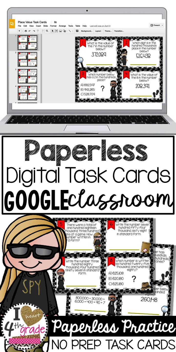 4th Grade Place Value Activity | Google Classroom Elementary | Place Value 4th Grade | Math Task Cards | Looking for a NO PREP activity to use with your students?  Try this fun set of Google Digital Task Cards.  Assess after they practice with the included Google Form. ($)