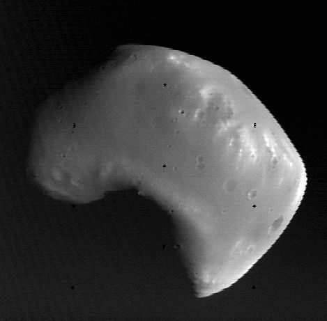How do Phobos and Deimos look from Mars? 2/26/15 Mars' moon Deismos.  Photo via NASA