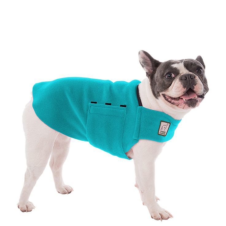 Turquoise French Bulldog Dog Tummy Warmer, great for warmth, anxiety and laying with our dog rain coat. High performance material. Made in the USA.