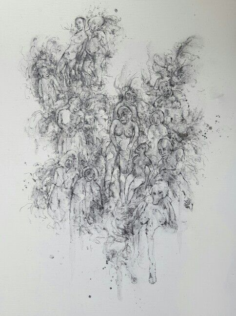 Drawing, graphite, charcoal and gesso on wood board.