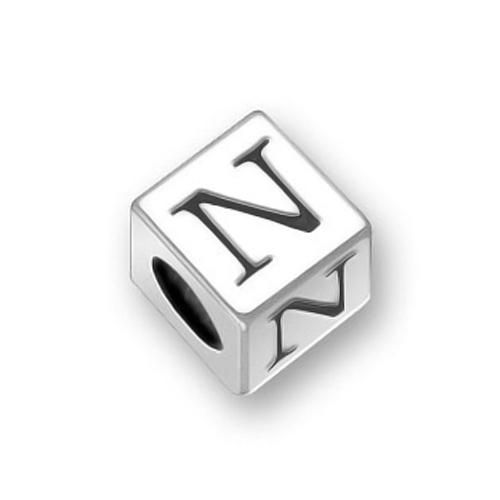 925 Sterling Silver Block Letter N Troll Pandora Oriana Bead Compatible