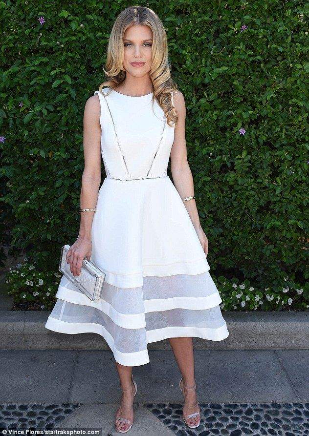 Back to 90210! AnnaLynne McCord looked angelic in white at sexual assault charity event in Beverly Hills on Sunday