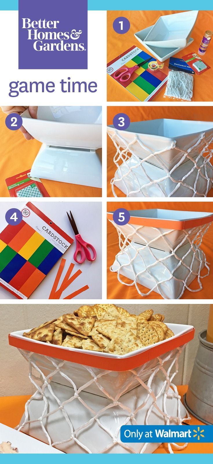 A basketball hoop snack bowl is essential for your party! (1) Tape two bowls together with mounting squares. (2) Cut a net above the knots and glue it to the bowl. (3) Affix an orange paper strip to top as shown.
