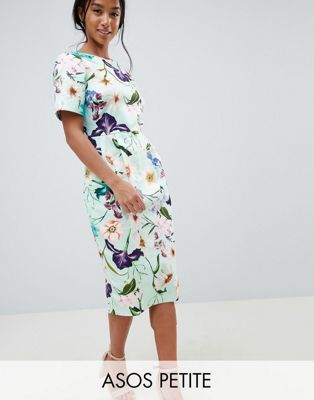 c0688686e1bf7c ASOS DESIGN Petite Wiggle Midi Dress In Floral Print