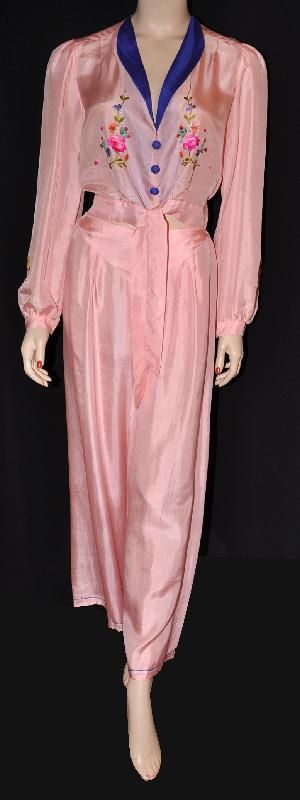 Pink Harem Girl! 1930s Two-Piece Flared-Legs Silk Pajama Set, via Silver Screen Loungerie.