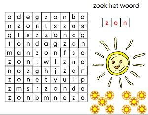 woordzoeker in Powerpoint zoek het woord Zon