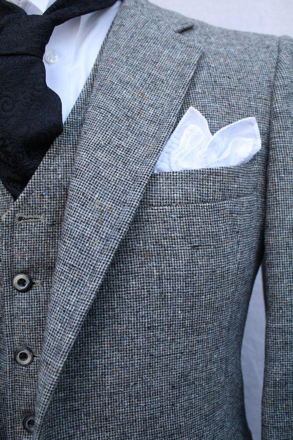 mens vintage 1970 s 3 suit grey tweed wool by