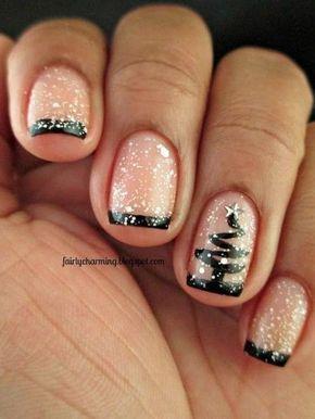 uñas cortas estilo francesas de navidad