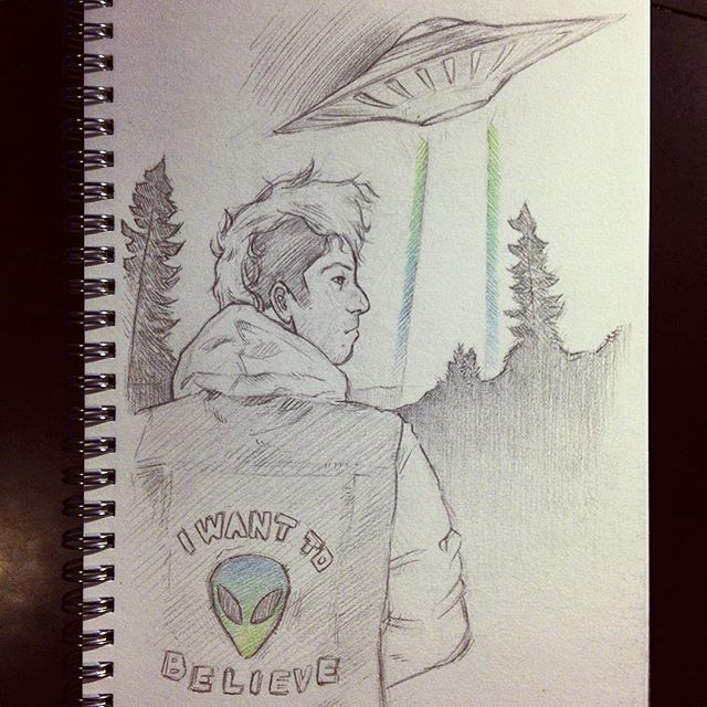 Josh Dun drawing. Quadruple threat: sick drummer, Christian, artist, AND he witches the X-Files!