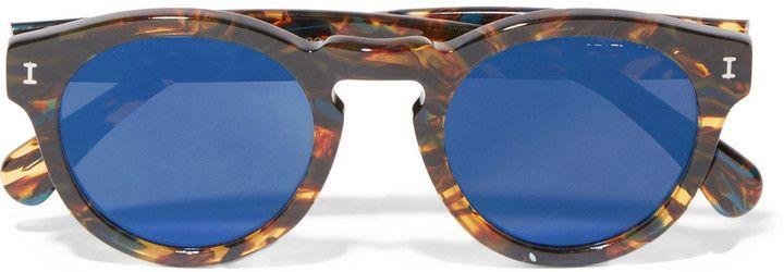 Leonard verspiegelte Sonnenbrille mit rundem Gestell aus Azetat in optik