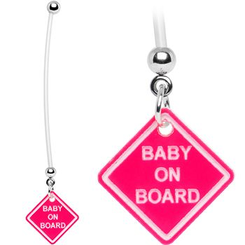 Pink Baby on Board Pregnant Belly Ring | Body Candy Body Jewelry