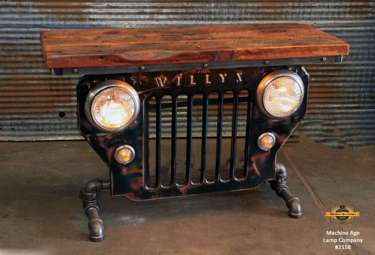 Steampunk Industrial Jeep Willys Cj3b Barn Wood Top Table 2158 Steampunk Furniture Automotive Decor Car Part Furniture