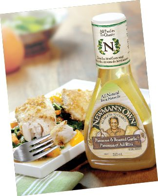 Newman's Own® Canada   Recipes   Salads   Oven Baked Walnut Encrusted Tilapia with Sweet Potato & Spinach