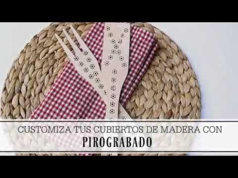 Manualidades y tendencias: Pirograbado: customizar cubiertos de madera www.manualidadesytendencias.com #wood #burning #pirograbado #pyrogravure #pyrographpen #homedeco #craft #manualidades
