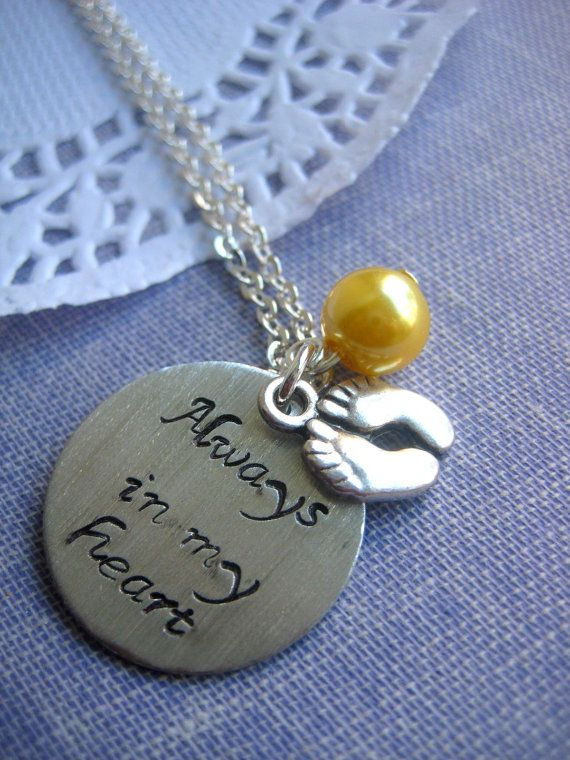 Loss, Miscarriage, Infant, Pregnancy Loss, Remembrance Necklace. Always In My heart Handstamped Charm, Footprint, Glass Pearl Birthmonth. --> hope I never need this but... yeah