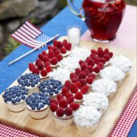 Cupcake Flag with Berries and Coconut