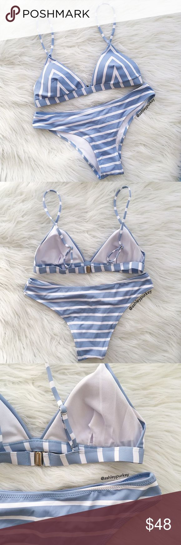 baby blue and white striped triangle bikini set •size: S   •features: top has adjustable straps and padding.  •no trades  ❗️❗️ NOT from acacia swimwear (brand listed for visibility. real brand: B-Long Boutique)  ⚠️ if this item does not fit you CANNOT return it - poshmark policy acacia swimwear Swim Bikinis