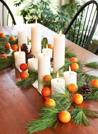 Pour un centre de table de noël tout en orange ! #sucrelaperruche #orange #bougies #centredetable