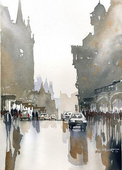 "The Collinton Road- Edinburgh by Iain Stewart Watercolor ~ 10"" x 8""http://iainstew.fineartstudioonline.com"