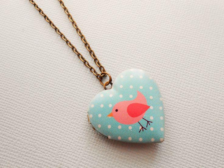 collier porte photo coeur - collier coeur - collier oiseau- collier pendentif porte photo - collier médaillon photo : Collier par esthete-bijoux