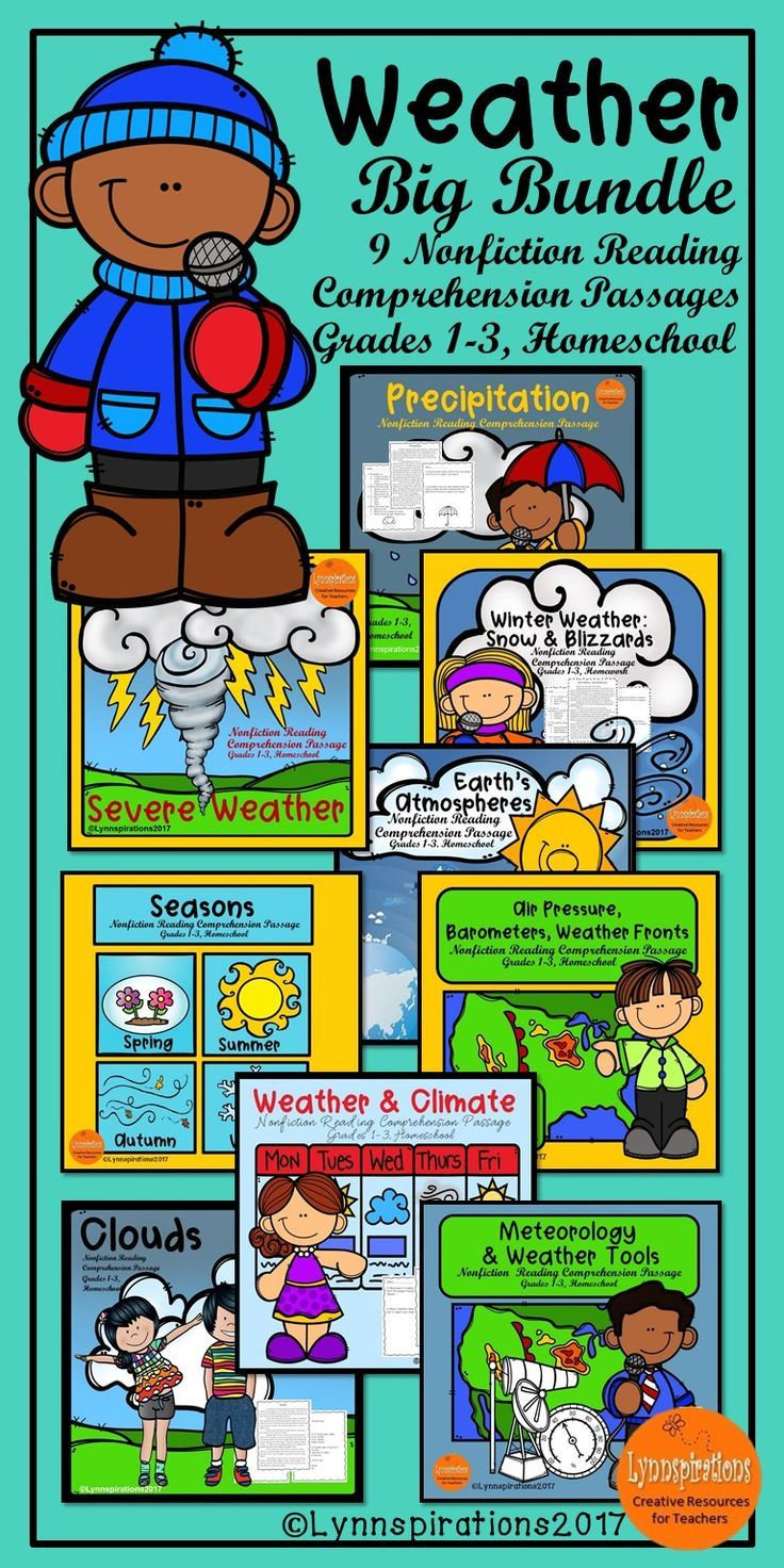 These nine reading comprehension activities are great for teaching the science of weather in grades 1-3. They can be used in your class to help your students with reading comprehension skills as well as with test taking skills. Please take a preview peek! Included in each engaging passage: 4 multiple choice questions and 2 written responses.