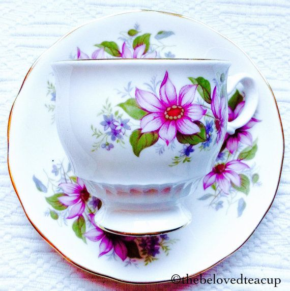 1950S - Kent China Clematis Purple Floral Tea Cup And Saucer