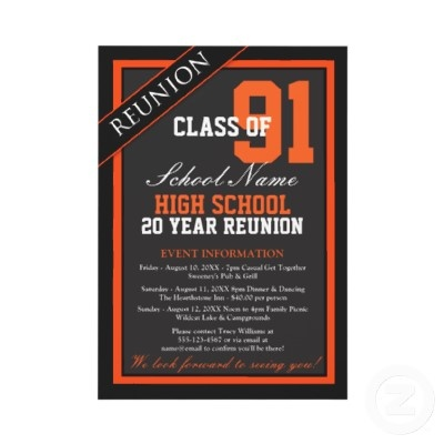 Classy Formal High School Reunion  Great class reunion invitations you personalize with all your celebration details for your big reunion event.